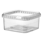 Afbeeldingen van TPS Plastic pot vierkant 600ml met veiligheidssluiting inclusief deksel